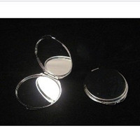 Wholesale of X Silver Blank Compact Mirror Round Metal Makeup Mirror Promotional Gift for XMAS