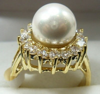 Wholesale charming wonderful lady s pearl gold crystal ring SZ all more color to choosec
