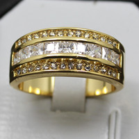 Wholesale SIZE EXCLUSIVE White Sapphire Gemstone KT Yellow Gold Filled Ring Best Gift
