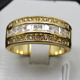 SIZE 8 9 10 11 12 EXCLUSIVE White Sapphire Gemstone 10KT Yellow Gold Filled Ring Best Gift