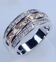 Wholesale EXCLUSIVE Orange Topaz KT White Gold Filled Ring SIZE Best Gift