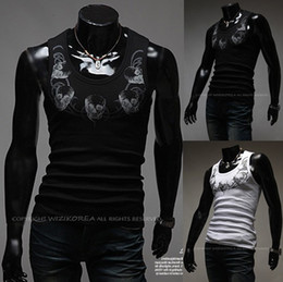 Wholesale 2013 Hot NEW Fashion Men s Tank Tops Vest Shirt Men s Skull print Neck Slim Corsetry Sleeveless Garment T shirts Tank Tops