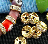 Wholesale 100pcs mm Gold Rhinestone Rondelle Spacers Beads Basketball Wives Earrings Beads Shamballa Beads
