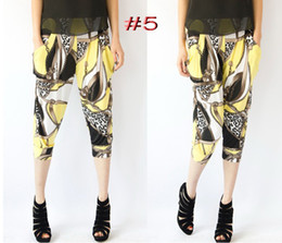 Printed harem pants wholesale color ice silk floral leggings pants female models