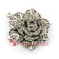 Wholesale 12PCS Top Fashion DIY Jewellery Necklace Scarf Accessories Zinc Alloy Rhinestone Flower Pendant Charm AC0179
