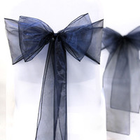 Wholesale Navy Blue quot cm W x quot cm L Sheer Organza Sashes Wedding Party Banquet Chair Organza Sash Bow