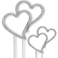 Wholesale cm quot Silver Diamante Double Heart Monogram Wedding Favor Cake Topper