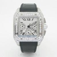 al por mayor zafiro suizo de cuarzo-Surtidor de la fábrica AAA alta calidad de lujo del zafiro del diamante lleno de cuarzo suizo Movimiento Trabajo Cronógrafo Reloj para hombre hombres relojes Box gratuito
