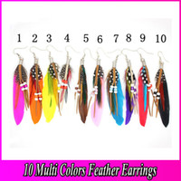 Wholesale Fashion Indian Bohemian Feather Earrings cm Multi Color Pairs Mix Cheap Feather Jewelry FT030