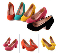 Wholesale Spring and autumn candy color girls round head single ladies thick heel shoes multiple sizes
