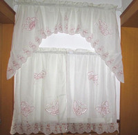 Wholesale 3PCS Red Butterfly embroided cream KITCHEN CURTAIN TIER amp SWAG SET