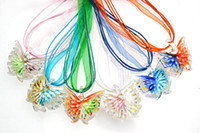 Wholesale Butterfly Glass Pendants Necklaces Bright D Flower Lampwork Murano Glass with Silk Cord New NL18