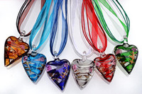 Wholesale Heart Multi Color Lampwork Murano Glass Pendants Necklaces With Silk Cord New NL19
