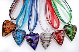 Heart Multi-Color Lampwork Murano Glass Pendants Necklaces With Silk Cord 6pcs lot New NL19