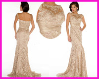 Wholesale Champagne High Boat Neck Column Lace Women Pageant Evening Dresses Gowns E3478