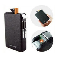 Wholesale Windproof Metal Automatic Magic Holde Smoke Black Cigarette Lighter Case Storage Box