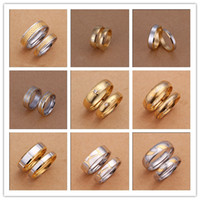 Wholesale Mixed orders K gold plated stainless steel couple rings fashion jewelry Top quality pair