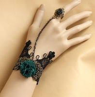 Women's Wedding Bracelets  Woman's Rhinestone Stone Ring With Flower Women Black Lace Bracelets Fashion Party Jewelry B0209