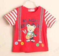 3T-4T 80-90-100-110-120 Round Neck Boys Stripe Short Sleeve T Shirt Kids Cute Cartoon Printed Shirts Fashion Summer Casual T Shirt Children T Shirts Tee Shirt Child Clothes