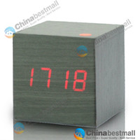 Wholesale Hot sale Red LED Wood Wooden Digital Alarm Clock DC input USB battery Temperature