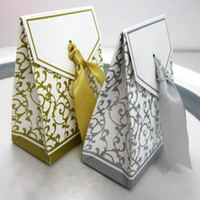 Favor Boxes Silver Paper New Gorgeous Gold Ribbon Wedding Party Candy Box Favor Gift Boxes 100pcs lot free shipping