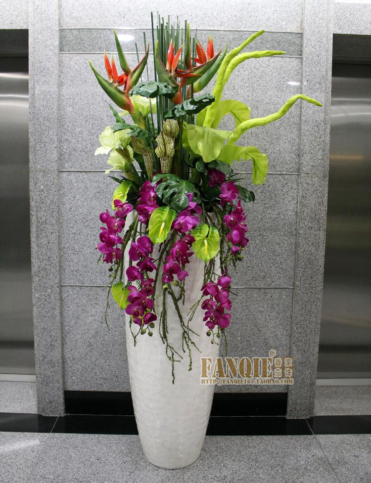Large floor vase fashion set flower decoration flower pu for Artificial flowers for home decoration india