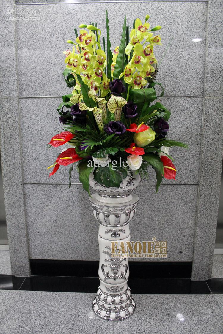 Fashion set floor vase ceramic roman column decoration for Floor vase with flowers