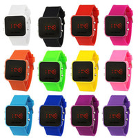 Wholesale 50pcs LED Mirror Watch Colorful Plastic Face Silicone Watch Soft Bands Red Light Utop2012 Sales