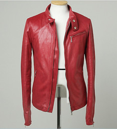 Wholesale 2013 Mens leather blazer Fashion men leather jacket red rock jackets