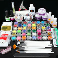 Wholesale Nail Art UV Gel Primer Glitter Powder Striping Top Coat Tips Brush Glue KITS UI Super Nail Art UV Gel Set
