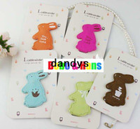 Wholesale New cute rabbit PU Earphone cable Winder Wire holder