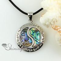 sea marine jewelry abalone shell - yinyang taiji rainbow abalone pink oyster shell mother of pearl rhinestone necklaces pendants Cheap fashion jewelry