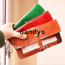 Wholesale Vintage style sweet lace Pu leather lady wallet with a coin bag fashion purses FreeShipping