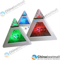 Wholesale Brand New Pyramid Shape LCD Digital Display Alarm Clock Color Change Night Light