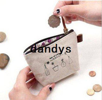 Wholesale Linen enjoy life small Portable Wallet key holder fabric coin bag small Purses Japan Style Coin Purses