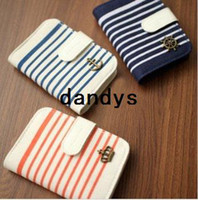 Men PP Card & ID Holders Navy crown&Windmill design Canvas stripes card bag&case Card & ID Holders 3 Color 12Pcs Lot