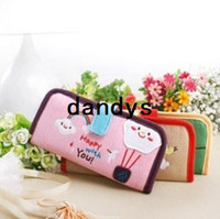 Wholesale Korea style Cartoon long style Fabric Card amp ID Holders Fabric card bag money clips FreeShipping