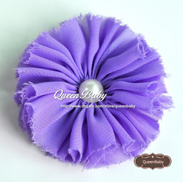 """Shabby Flower with pearl for Baby Girl headbands flower Wrist Corsage bridal Corsage Chiffon Rose 2.5"""" 50pcs lot QueenBaby"""