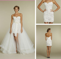 Wholesale Sweetheart Two Piece Design Lace Short Mini Bridal Gowns Detachable Train Tulle Wedding Dresses Short Front Long Back Beach Gown