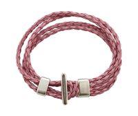 6PCS PINK Leather Multi- layer Hook Clasp Bracelets 20cm #230...