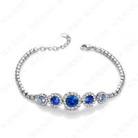 Tennis australian gold crystal - 12pcs a Rhinestone Jewelry K White Gold Plated Use Blue Australian Crystal sapphire Lovely Charm Bracelet B043W2