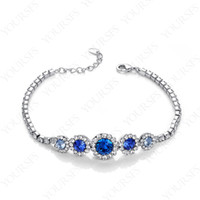Wholesale Rhinestone Jewelry K White Gold Plated Use Blue Swarovski Crystal sapphire Lovely Charm Bracelet B043W2