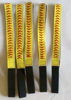 Wholesale real leather softball seam headband yellow softball headbands high quality