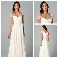 Wholesale Sample Elegant Pure white Pleated V neck Chiffon Floor Length Bridesmaid Dresses Delicated With Pearls Cap Short Sleeves Evening Dresses