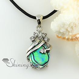 oval teardrop rainbow abalone sea shell rhinestone mother of pearl pendant necklace Fashion jewelry