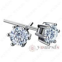 Wholesale Unique Ear Studs K White Gold Plated GP Swarovski Crystal CT Diamond Earring E105W1
