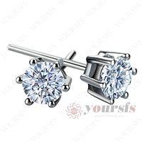 Wholesale Unique Ear Studs K White Gold Plated GP Swarovski Crystal CT Diamond Earring Designs E105W1