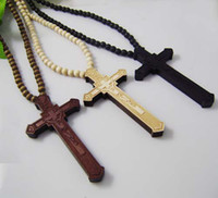 Wholesale Wooden Necklace Hip hop Hand drawn Cross Pendant GOOD WOOD NYC Beaded Rosary Jewelry Lucky Gift Factory Price Colors C0355