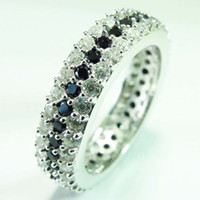 Wholesale Romantic R1661 sz Fashion Black Cubic Zirconia and White Cubic Zirconia S sterling Silver ring