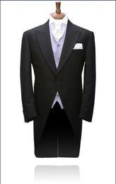 Black Morning Style Groom Tuxedos Best Man Peak Lapel Groomsmen Men Wedding Suits Bridegroom (Jacket+Pants+Tie+Vest) H800